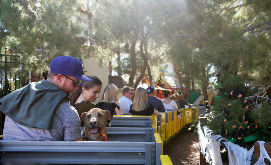 Individuals and their pets ride a train during Opportunity Village's Pumpkin Paws at HallOVeen at the Magical Forest in Las Vegas, Sunday, Oct. 22, 2017. Elizabeth Brumley Las Vegas Review-Journal ...