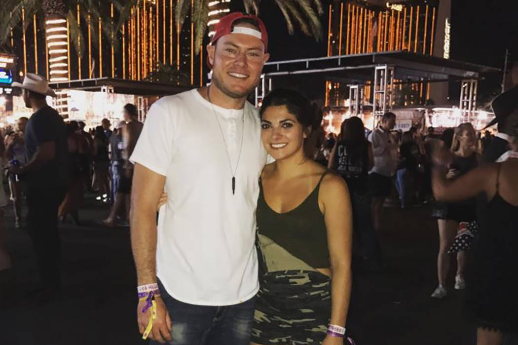 Former UNLV golfer and Web.com Tour player AJ McInerney and girlfriend Alyssa Martine are shown at Route 91 Harvest Festival the night before a mass shooting when they had to run for their lives.  ...