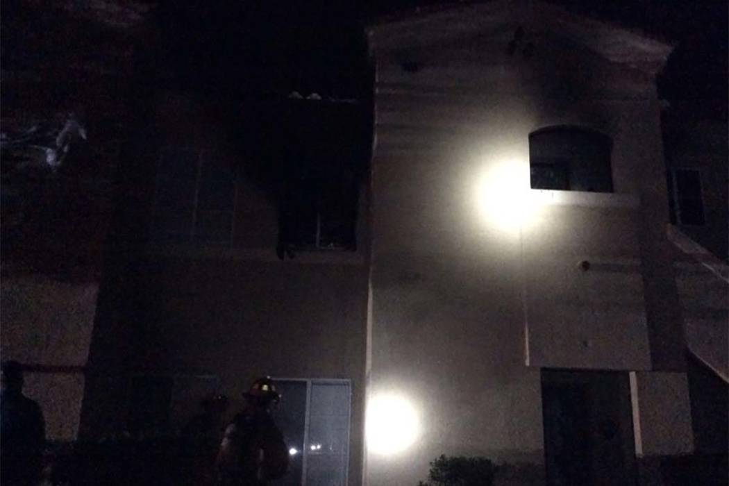 Eight people were displaced after an early Monday morning fire at the Calypso apartments in central Las Vegas. (Max Michor/Las Vegas Review-Journal)