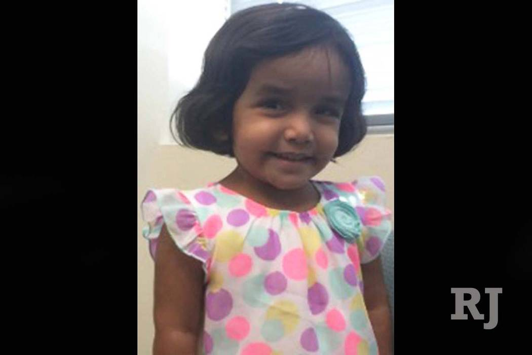 Sherin Mathews of Richardson, Texas, is missing after being sent outside at 3 a.m. as punishment for not drinking her milk. (Richardson Police Department)