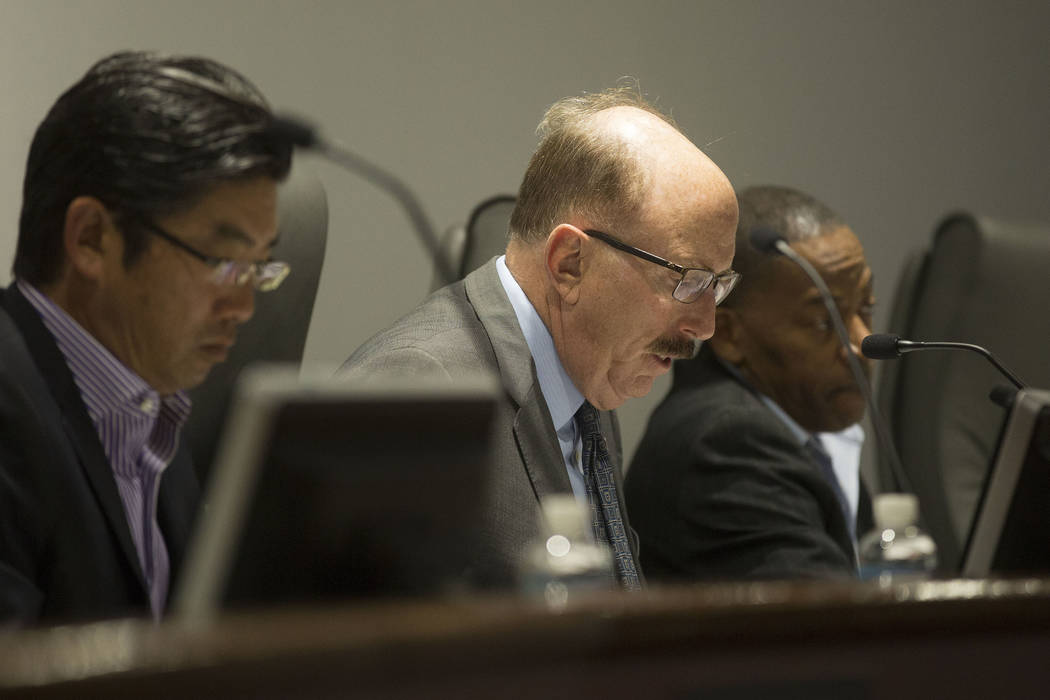 Board member William Noonan, center, during the Las Vegas Convention and Visitors  Authority's audit committee meeting on Tuesday, Oct. 24, 2017. Bridget Bennett Las Vegas Review-Journal @BridgetK ...