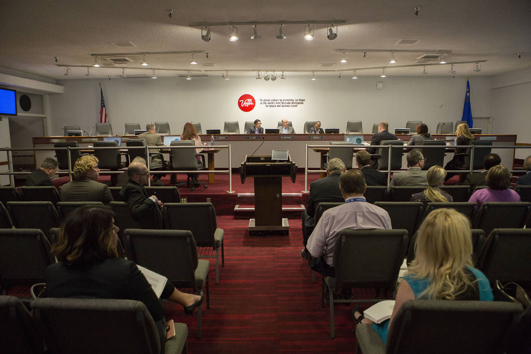 The audit committee board during the Las Vegas Convention and Visitors  Authority meeting on Tuesday, Oct. 24, 2017. Bridget Bennett Las Vegas Review-Journal @BridgetKBennett