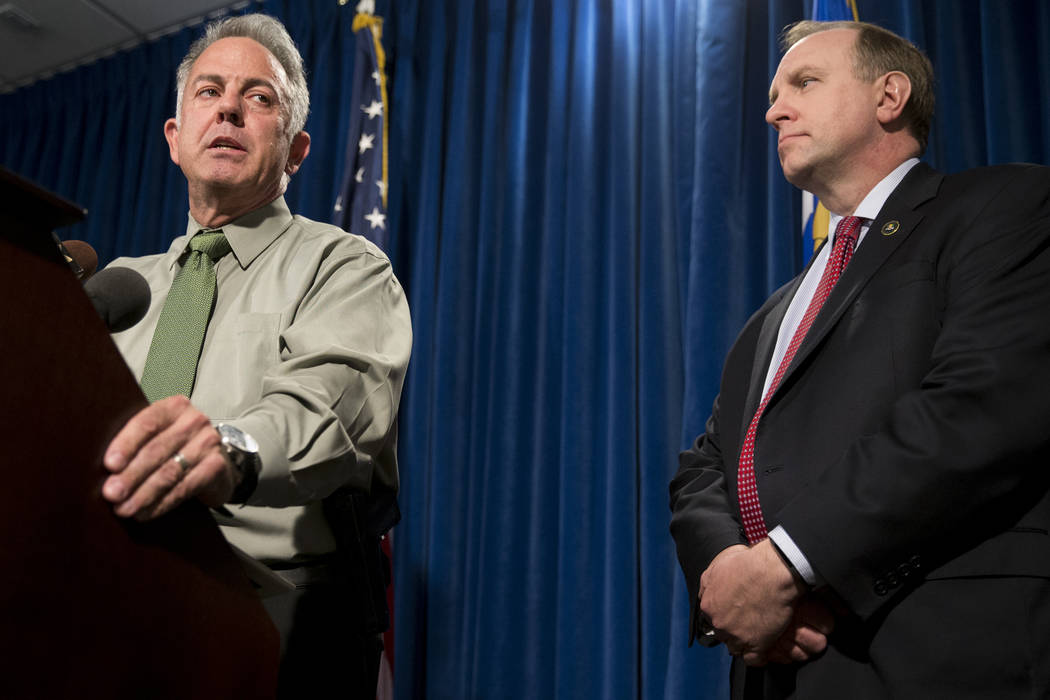 Clark County Sheriff Joe Lombardo, left, with Aaron C. Rouse, special agent in charge for the FBI in Nevada, discusses the Route 91 Harvest Festival mass shooting at the Metropolitan Police Depart ...