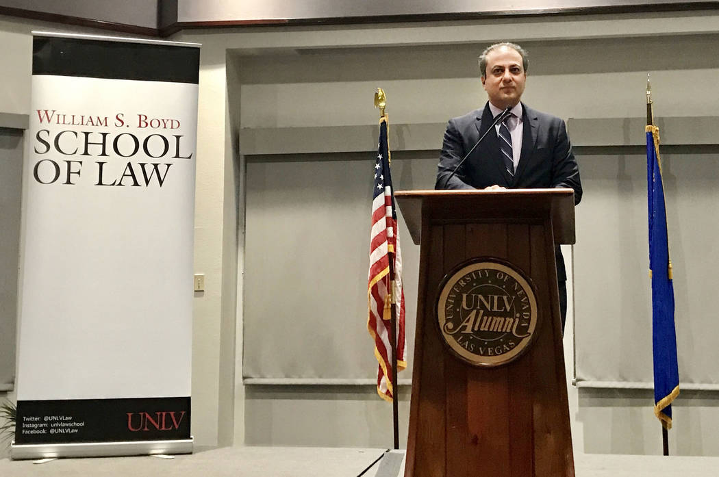 Former U.S. Attorney Preet Bharara speaks to the public as part of the Boyd School of Law's distinguished speaker series at the Richard Tam Alumni Center on Monday, Oct. 23. Natalie Bruzda Las Veg ...