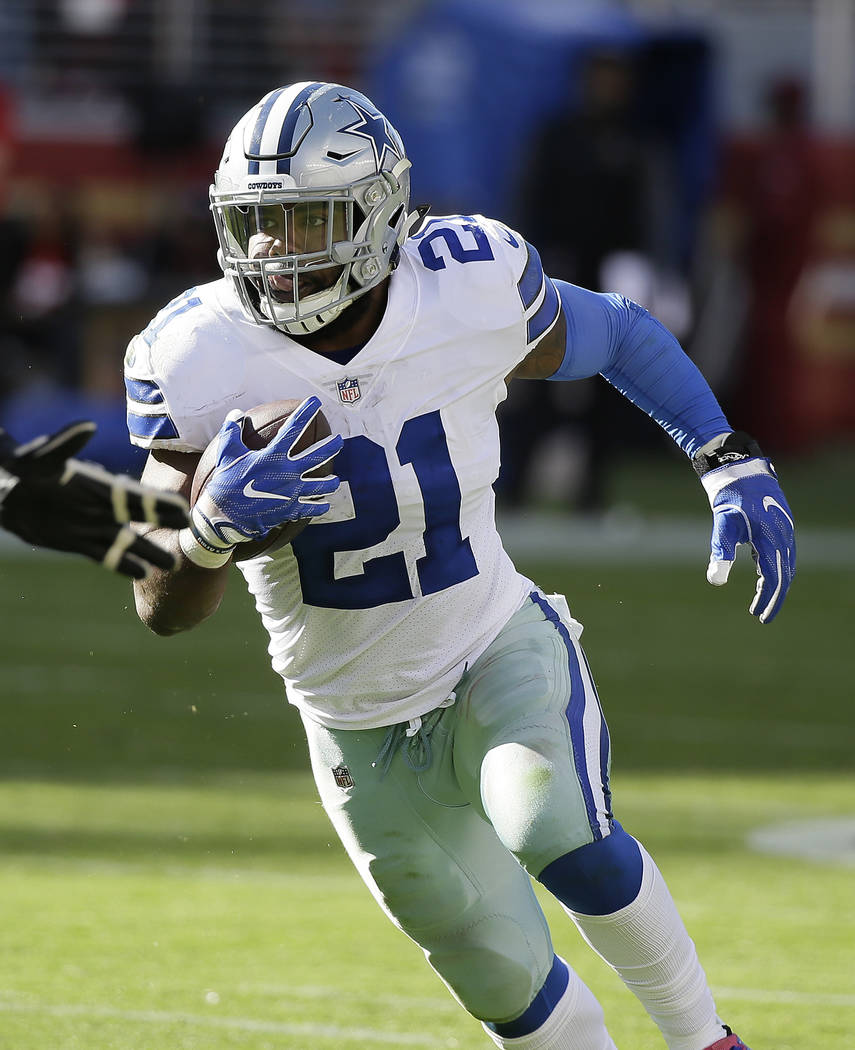 Dallas Cowboys running back Ezekiel Elliott (21) runs against the San Francisco 49ers during the second half of an NFL football game in Santa Clara, Calif., Sunday, Oct. 22, 2017. (AP Photo/Eric R ...