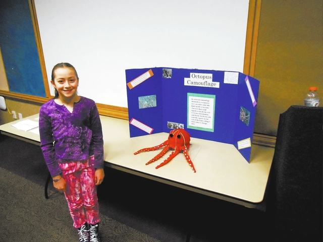 Fifth grader Kalina Abaturov, pictured Jan. 15, poses with a model octopus she built for the annual Nevada Connections Academy science fair at the Aliante Library, 2400 W. Deer Springs Way. (James ...