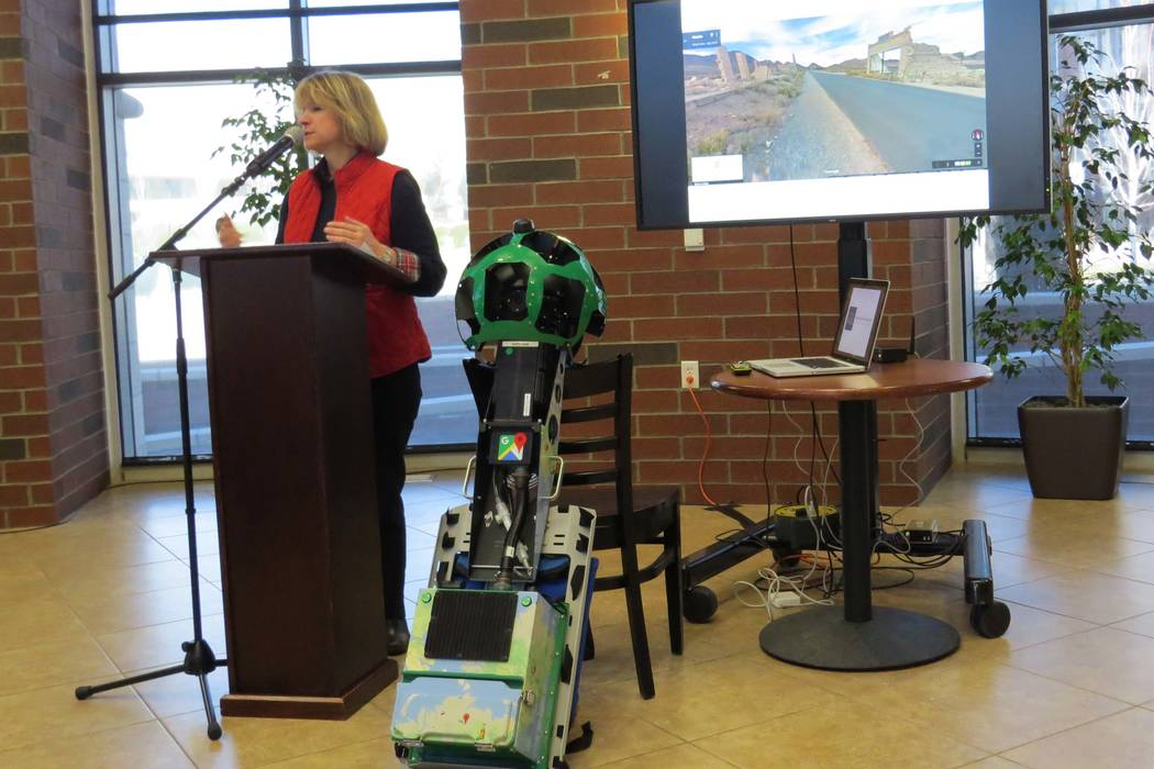 Claudia Vecchio, director of Nevada Department of Tourism and Cultural Affairs, stands next to the Google Trekker at a press conference in Reno, Tuesday, March 23, 2016. (Sandra Chereb/Las Vegas R ...