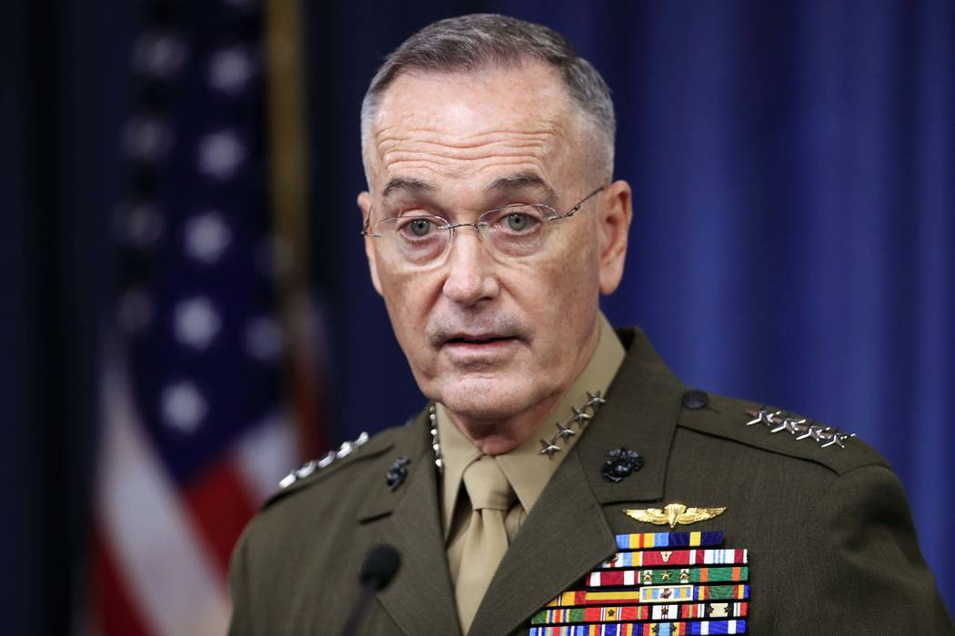 Joint Chiefs Chairman Gen. Joseph Dunford, speaks to reporters about the Niger operation during a briefing at the Pentagon, Monday, Oct. 23, 2017. (Manuel Balce Ceneta/AP)