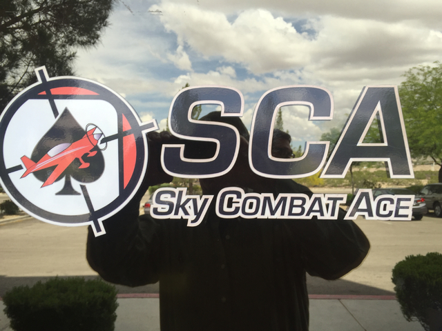 The entrance to Sky Combat Ace's office near Henderson Executive Airport shows the company's logo on Friday, May 6, 2016. (Keith Rogers/Las Vegas Review-Journal)