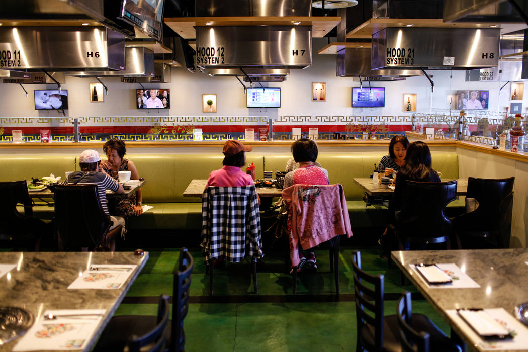People eat at Lee's Korean BBQ in Las Vegas, Tuesday, Oct. 24, 2017. Owner Hae Un Lee attended a meeting Tuesday addressing Asian restaurant owners' concerns about the Southern Nevada Health Distr ...