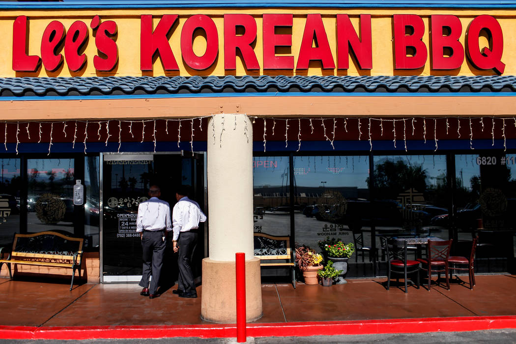 People enter Lee's Korean BBQ in Las Vegas, Tuesday, Oct. 24, 2017. Owner Hae Un Lee attended a meeting Tuesday addressing Asian restaurant owners' concerns about the Southern Nevada Health Distri ...