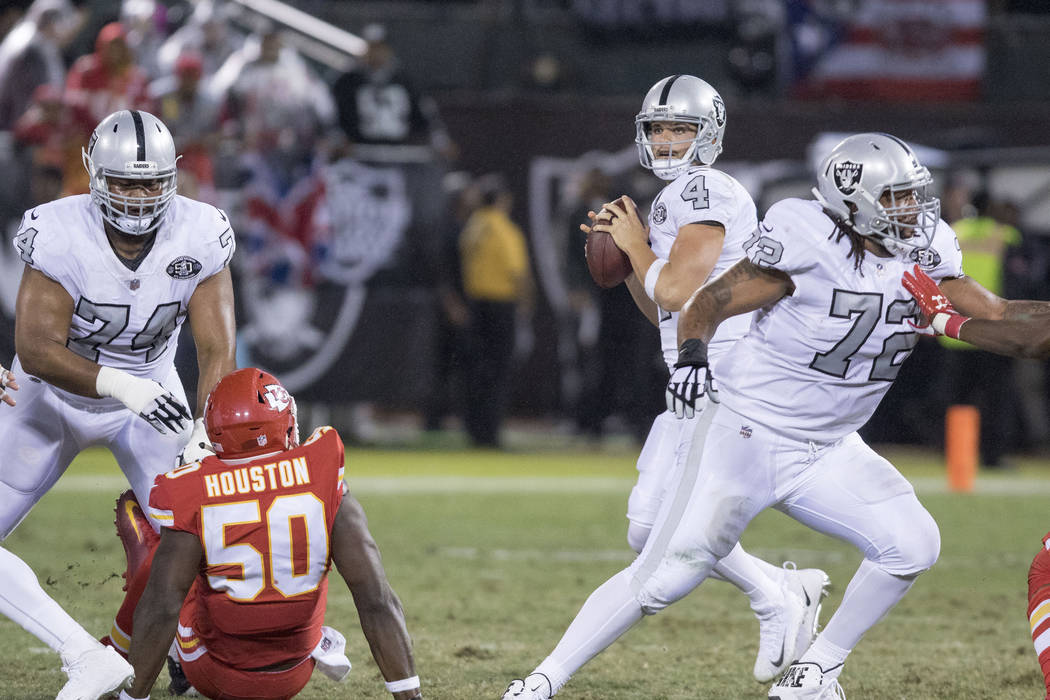 Oakland Raiders quarterback Derek Carr (4) drops back to pass during the first half of their game against the Kansas City Chiefs in Oakland, Calif., Thursday, Oct. 19, 2017. Heidi Fang Las Vegas R ...