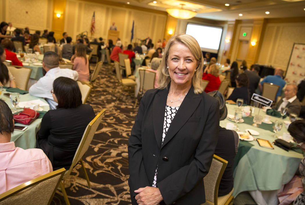Nevada Secretary of State Barbara Cegavske during a luncheon hosted by the Las Vegas Asian Chamber of Commerce at the Gold Coast on Thursday, Aug. 24, 2017, in Las Vegas. Richard Brian Las Vegas R ...