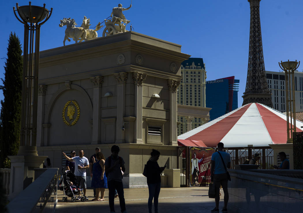 People outside of Caesars Palace in Las Vegas on Wednesday, Sept. 27, 2017. Chase Stevens Las Vegas Review-Journal @csstevensphoto