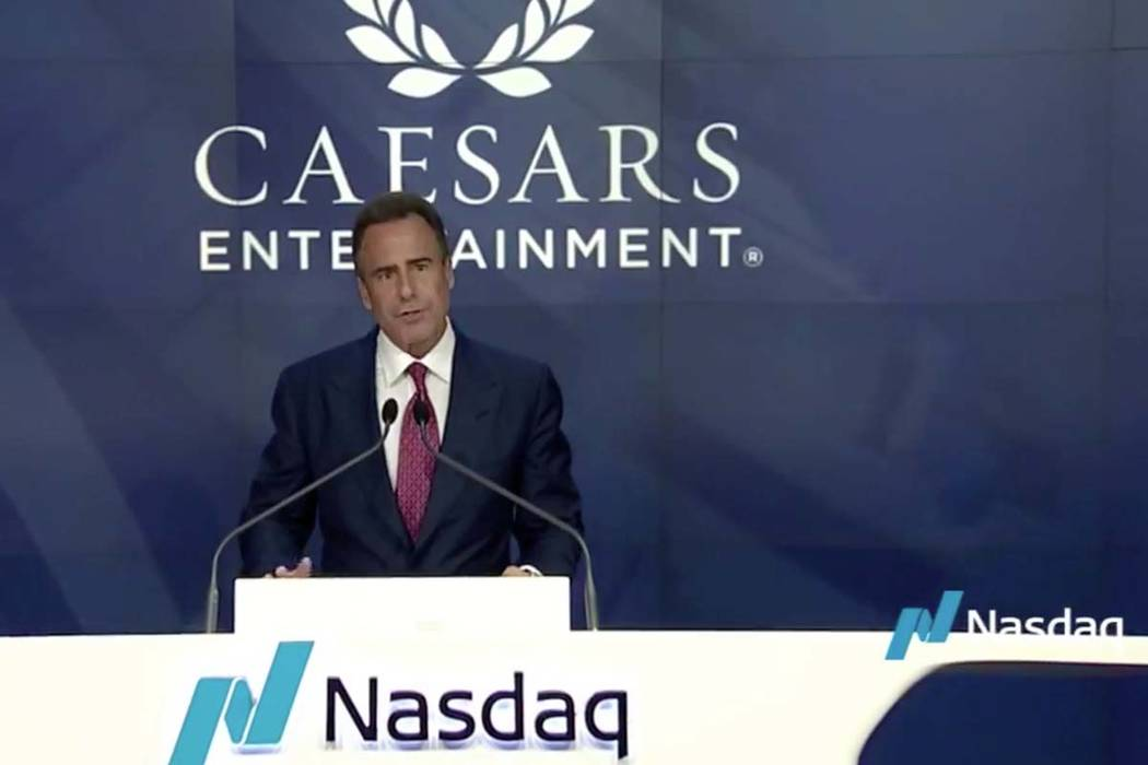 Caesars Entertainment President and CEO Mark Frissora speaks on Tuesday, Oct. 24, 2017, before a ceremony to ring the bell to begin trading at Nasdaq. (Facebook/Nasdaq)