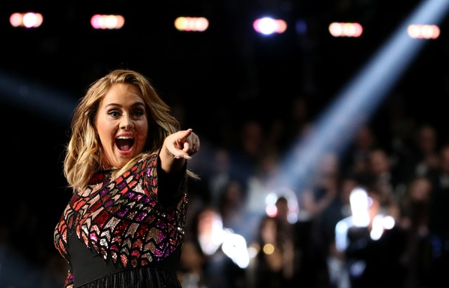"""Adele sings """"Hello"""" at the 59th Annual Grammy Awards in Los Angeles, California, U.S., February 12, 2017. Lucy Nicholson/Reuters"""