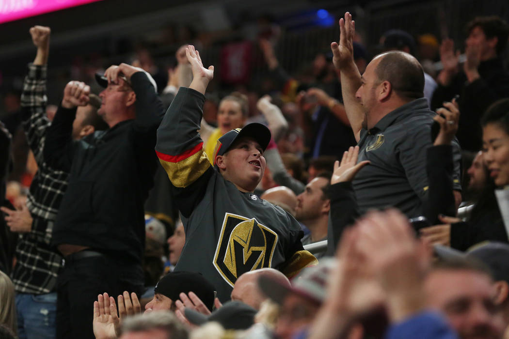 Vegas Golden Knights fans cheer after a goal during a game against St. Louis Blues at T-Mobile Arena in Las Vegas, Saturday, Oct. 21, 2017. Vegas Golden Knights won 3-2 in overtime. Bridget Bennet ...