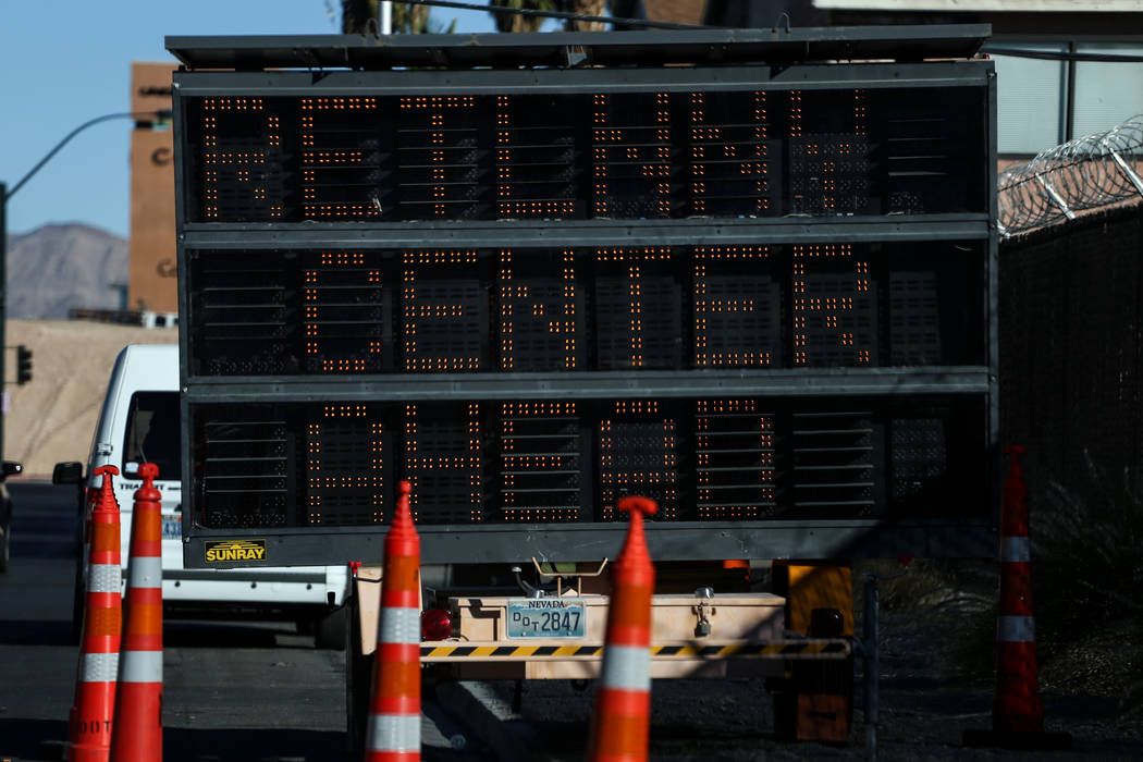 A sign is posted outside the Vegas Strong Resiliency Center located at the UMC Lied Ambulatory Care Center in Las Vegas, Monday, Oct. 23, 2017. Joel Angel Juarez Las Vegas Review-Journal @jajuarez ...