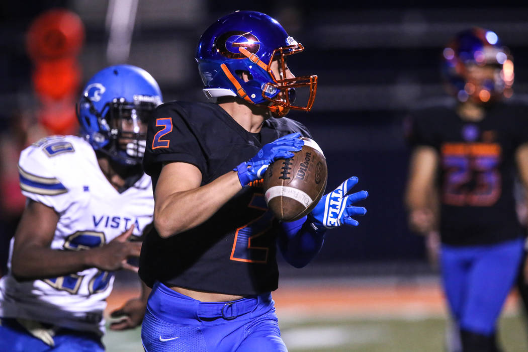 Bishop Gorman's Jimmy Telles (2) prepares to pass the ball against Sierra Vista during the first quarter of a football game at Bishop Gorman High School in Las Vegas, Thursday, Oct. 26, 2017. Joel ...