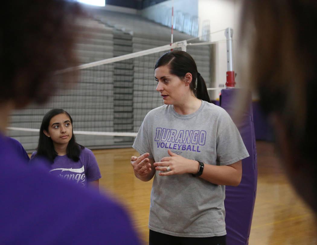 Durango coach Amy Schlauder talks to her varsity volleyball team during practice at Durango High School in Las Vegas, Thursday, Oct 26, 2017. Elizabeth Brumley Las Vegas Review-Journal @EliPagePhoto