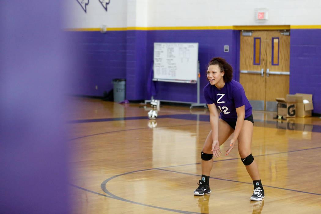 Durango varsity volleyball player senior Naomi Harris practices at Durango High School in Las Vegas, Thursday, Oct 26, 2017. Elizabeth Brumley Las Vegas Review-Journal @EliPagePhotoNaomi Harris