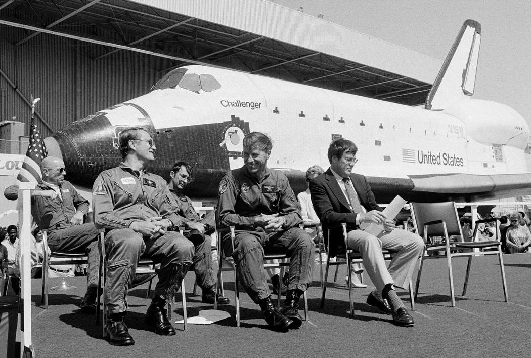 The new space shuttle Challenger sits behind the four astronauts that will fly it during turnover ceremonies at Rockwell International's final assembly site in Palmdale, Calif. on June 30, 1982. F ...