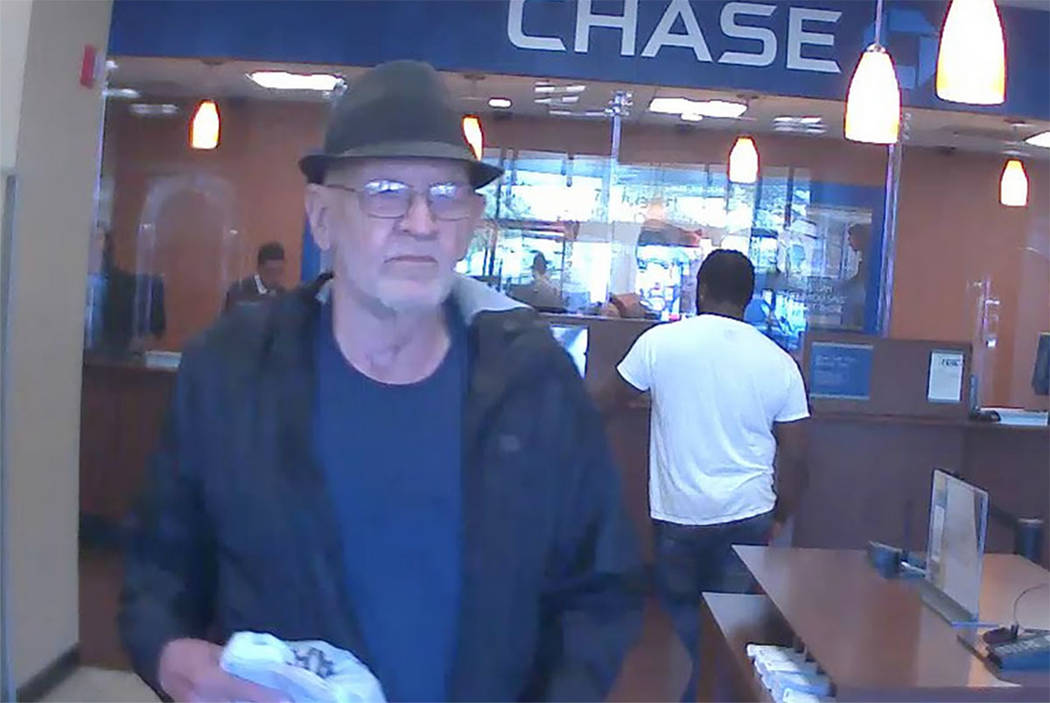 Metro police are looking for this man they say robbed a Chase bank on Saturday, Oct. 21, 2017, in northwest Las Vegas. He also may have robbed a Bullhead City, Arizona, bank.  (Las Vegas Metropoli ...