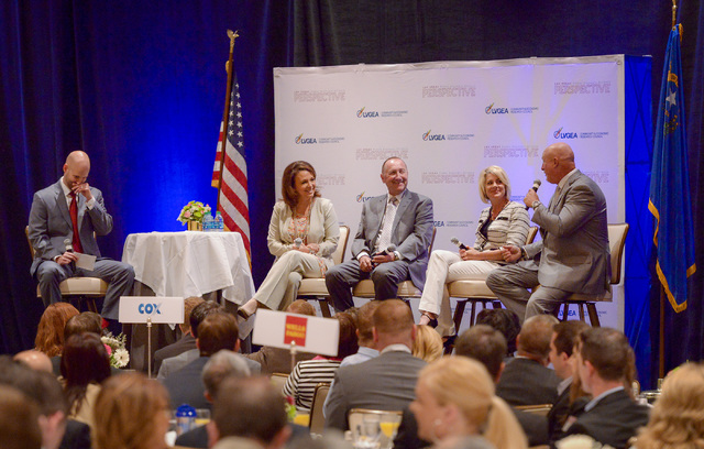Mark Prows, right, vice president of MGM/AEG Arena for MGM Resorts International, speaks as part of a panel at the 35th Annual Las Vegas Global Economic Alliance Perspective held at the Four Seaso ...