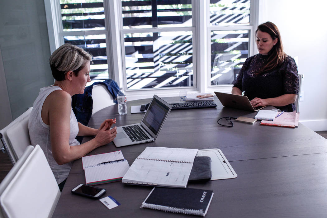 Kelly Frey of Henderson, left, and Emily Wofford of Las Vegas, right, both co-owners of The Publicity Lab, work on projects inside Bloom in Las Vegas, Tuesday, Oct. 24, 2017. Joel Angel Juarez Las ...