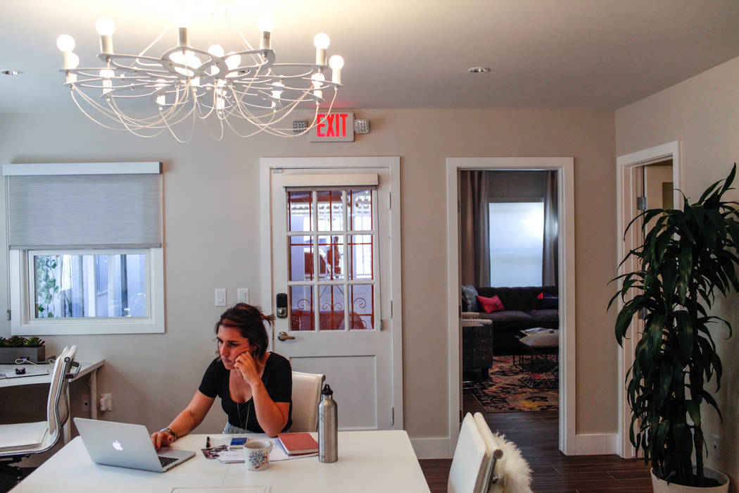 Cory Hentzen, 37, of Las Vegas, works on projects for her lifestyle brand Riding with Cory and Candice at a new coworking space for women called Bloom in Las Vegas, Tuesday, Oct. 24, 2017. Joel An ...
