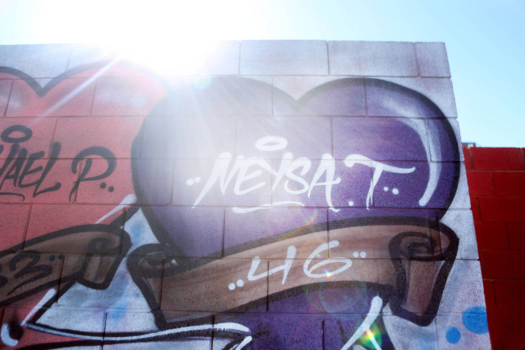 Fallen victim of the Route 91 Harvest festival shooting Neysa Tonks's name is displayed on a mural off of Westcliff Drive and Antelope Way in Las Vegas, Tuesday, Oct. 24, 2017. The mural was paint ...