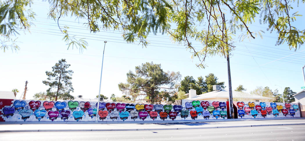 A mural with each name and age of the fallen victims killed in the Route 91 Harvest festival, located off of Westcliff Drive and Antelope Way in Las Vegas, Tuesday, Oct. 24, 2017. Elizabeth Brumle ...