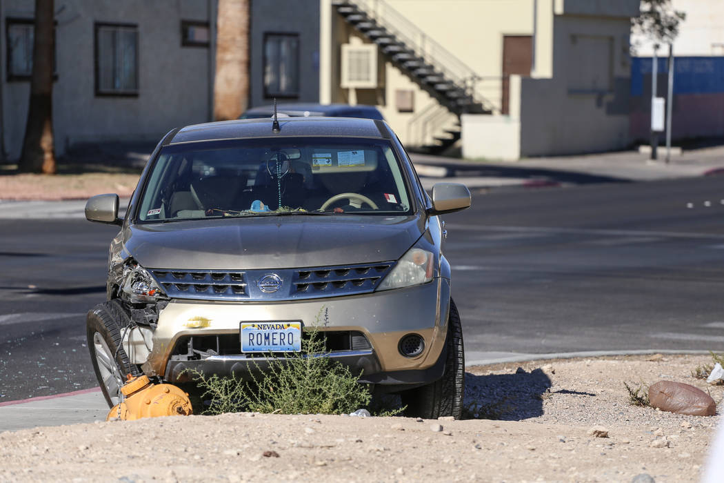 The scene of a three-vehicle collision involving a Las Vegas police car at the intersection of Ogden Avenue and Maryland Parkway Tuesday, Oct. 24, 2017. Joel Angel Juarez Las Vegas Review-Journal  ...