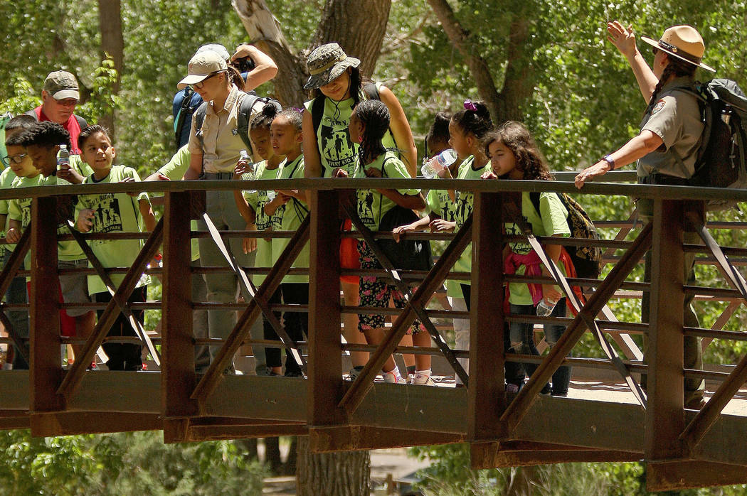 "Students and chaperones look over the bridge to see the Virgin River at Zion National Park during the ""1 Million African American Youth In A Park"", Saturday, June 10, 2017. One h ..."