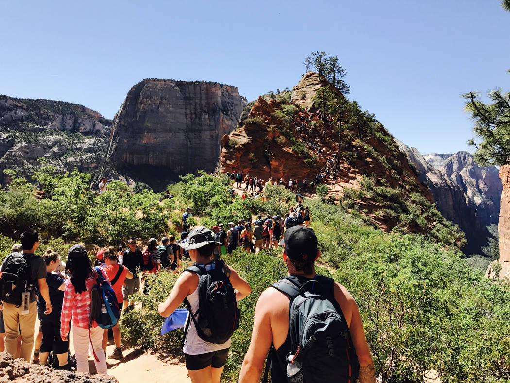 Hikers line up on the Angel's Landing Trail at Zion National Park on May 28. The park in Utah is one of 17 National Park Service sites being considered for substantial peak-season fee increases. B ...