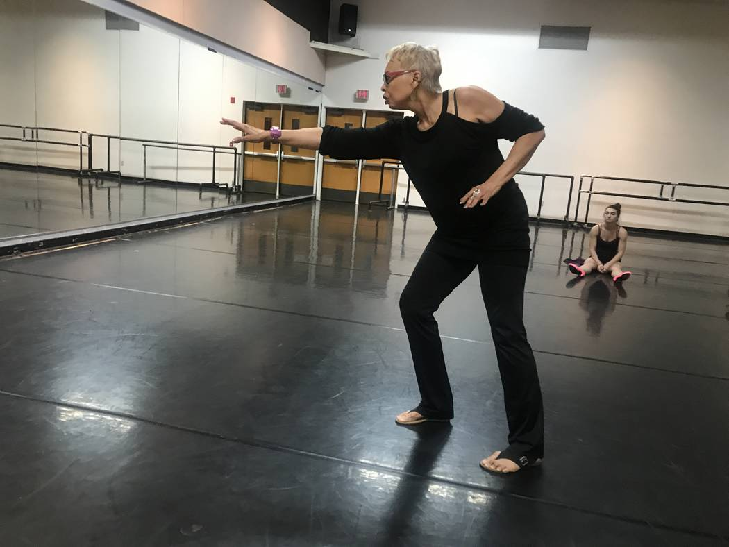 UNLV jazz full professor Vikki Baltimore-Dale demonstrates dance move during rehearsal on October 24, 2017 at the University of Nevada Las Vegas, 4505 S. Maryland Parkway. (Kailyn Brown/View) @Kai ...