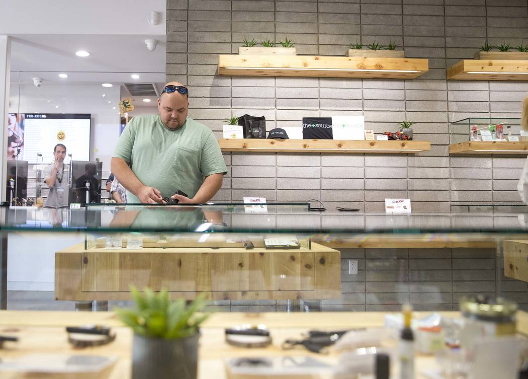Henderson resident Andrew Kliman browses the cannabis concentrate's on display while shopping at The Source cannabis dispensary in Henderson on Friday, Oct. 20, 2017. Richard Brian Las Vegas Revie ...