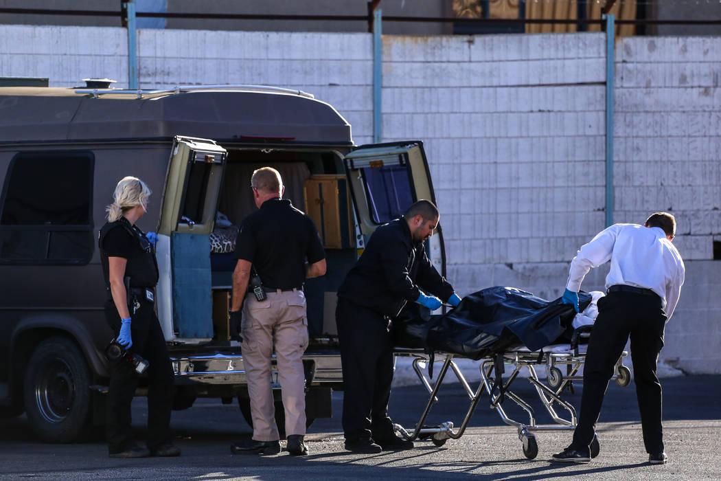 Police investigate a scene where a dead body was found in a van behind the Déjà Vu Adult Emporium in Las Vegas, Tuesday, Oct. 24, 2017. Joel Angel Juarez Las Vegas Review-Journal @jajuar ...