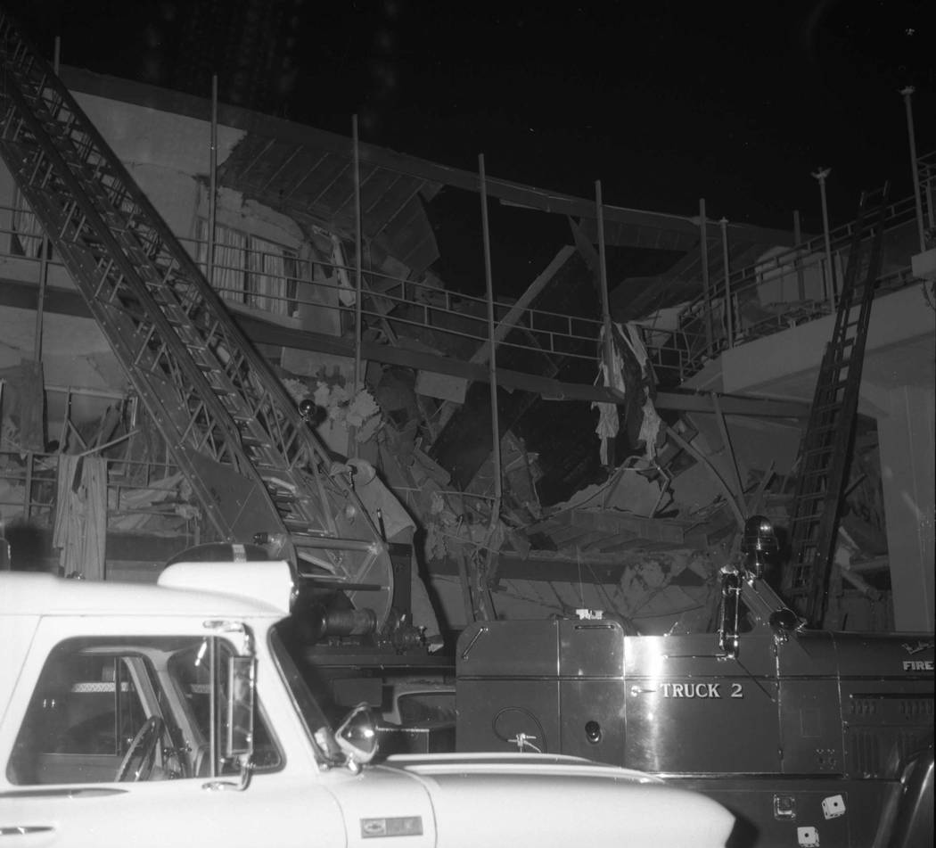 A bombing in January 1967 caused extensive damage to the Orbit Inn motel in downtown Las Vegas and killed six people, including the suspect. (Nevada State Museum)