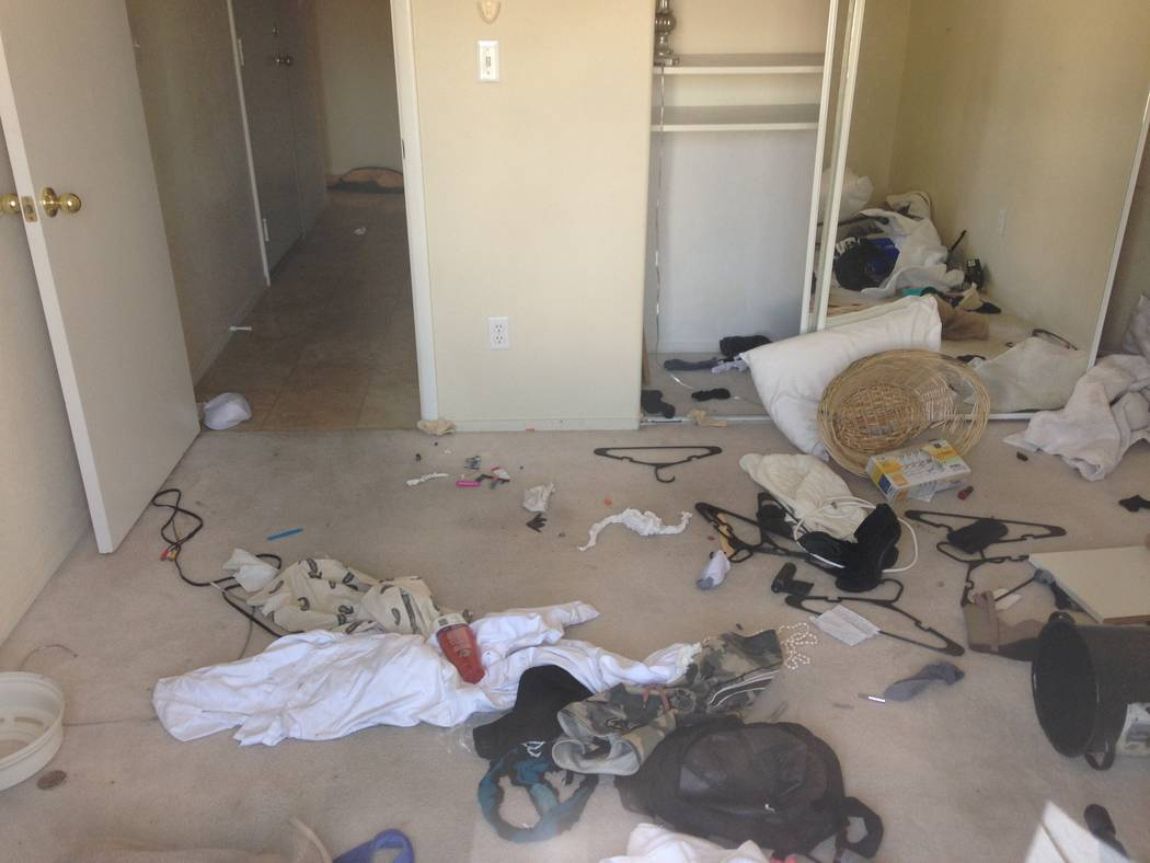 The interior of a squatter house near Buffalo Drive and Lake Mead Boulevard in Las Vegas is seen on Thursday, Oct. 12, 2017. (Eli Segall/Las Vegas Review-Journal)