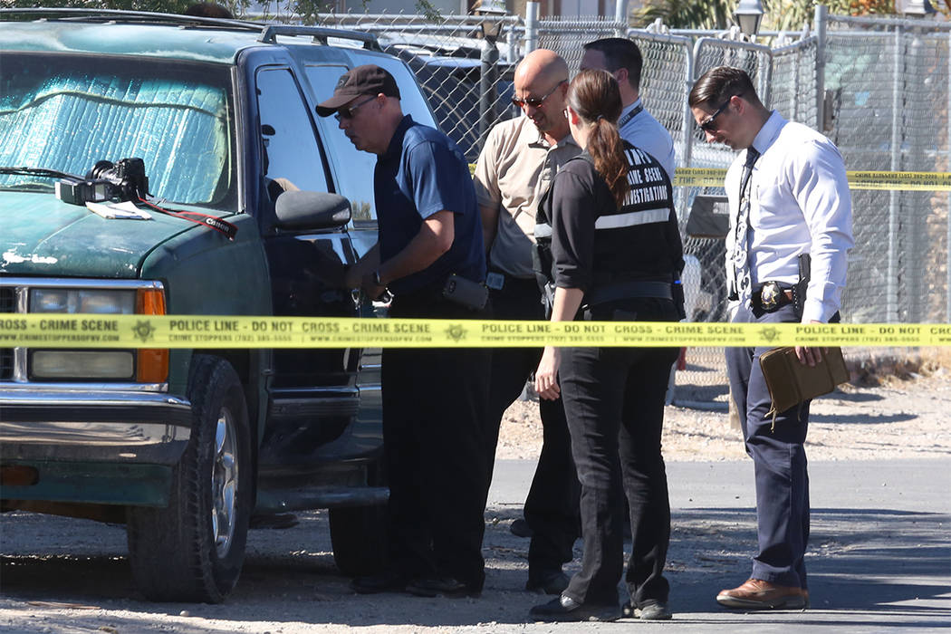 Las Vegas police are investigating a homicide outside the 5800 block of East Carey Avenue residence, near North Nellis and East Lake Mead boulevards Monday, Oct. 23, 2017, in Las Vegas. Bizuayehu  ...