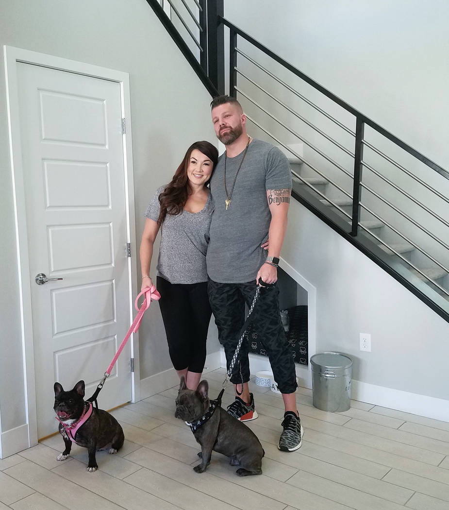 Nevada Builder Trade In Program Roxanne Wright and Ian Clement visit the Trento model at The Cove at Southern Highlands neighborhood with their friendly canines Leni and Buster. The couple purchas ...