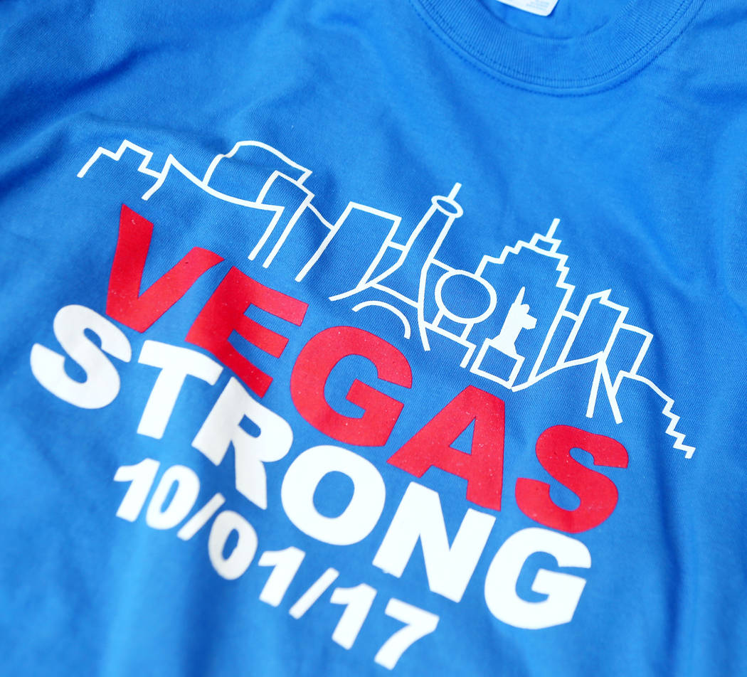 A vegas strong t shirt ready to be distributed to a school in the clark