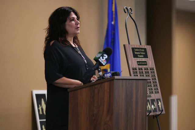 Elynne Greene speaks during a remembrance ceremony for victims of domestic violence at the Metropolitan Police Headquarters in Las Vegas on Thursday, Oct. 6, 2016. Brett Le Blanc/Las Vegas Review- ...