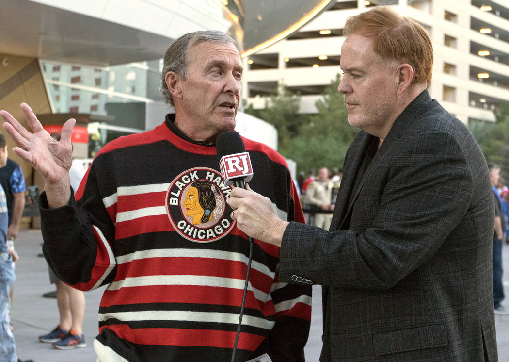 Longtime Chicago Blackhawks hockey fan Peter MacKenzie, left, with Review-Journal columnist Ed Graney at the T-Mobile Arena in Las Vegas on Tuesday, Oct. 24, 2017. Heidi Fang/Las Vegas Review-Jour ...