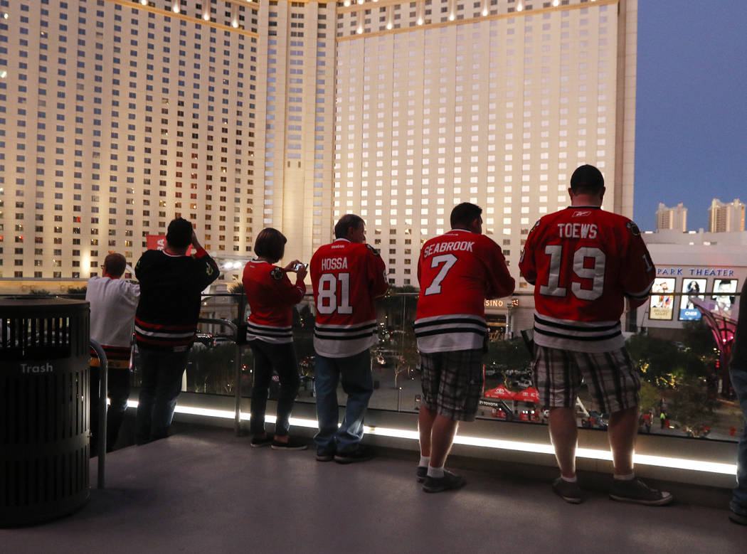 Chicago Blackhawks fans arrive at T-Mobile arena ahead of an NHL hockey game against the Golden Knights' at T-Mobile Arena in Las Vegas on Tuesday, Oct. 24, 2017. Chase Stevens Las Vegas Review-Jo ...