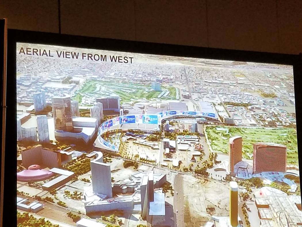 RV Architecture's presentation on Wednesday, Oct. 25, 2017, in Las Vegas, included this rendering of its vision of the Las Vegas Convention Center expansion. Richard N. Velotta Las Vegas Review-Jo ...