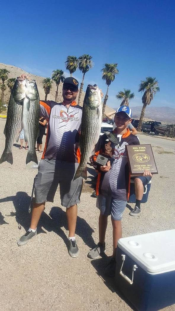 With the help of his 12-year-old son Kyle, Bryan Simons, of Henderson, shows the trophies he won at River-Rama 207 along with three of the four fish the put him in first place. (Bryan Simons)