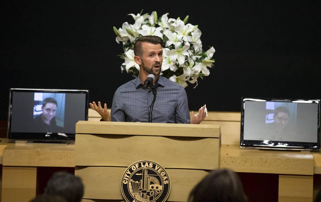 Bobby Eardley, boyfriend of Route 91 shooting victim Cameron Robinson, speaks during a celebration of life for Robinson at Las Vegas City Hall on Thursday, Oct. 26, 2017. Richard Brian Las Vegas R ...