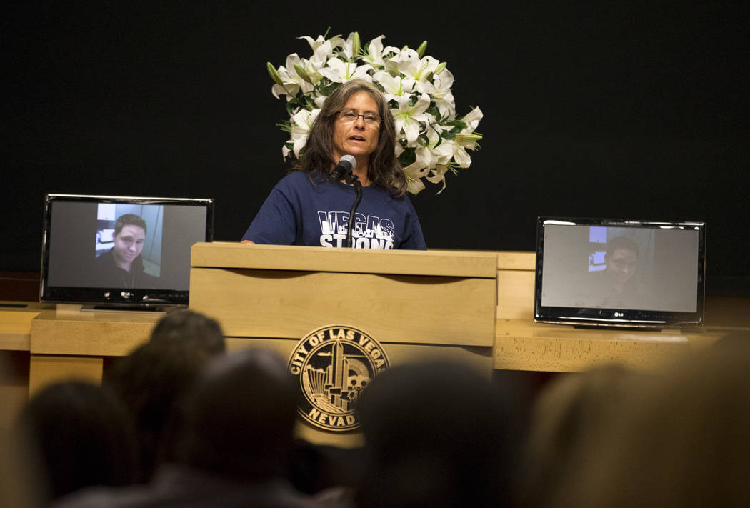 Diane Bradley, mother of Route 91 shooting victim Cameron Robinson, speaks during a celebration of life for Robinson at Las Vegas City Hall on Thursday, Oct. 26, 2017. Richard Brian Las Vegas Revi ...